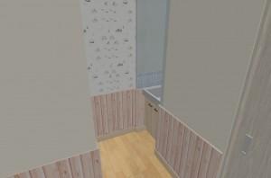 1F洗面所-ホールから-ピーリングあり